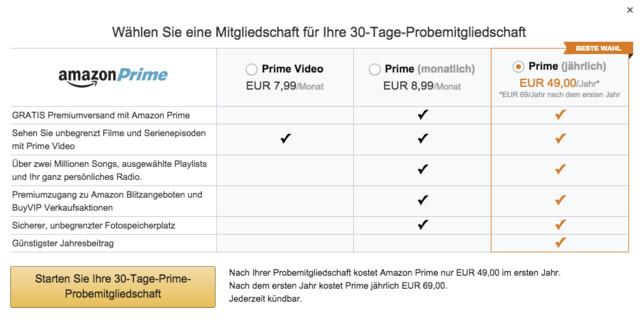 Amazon Prime gibt es ab sofort auch im Monatsabo
