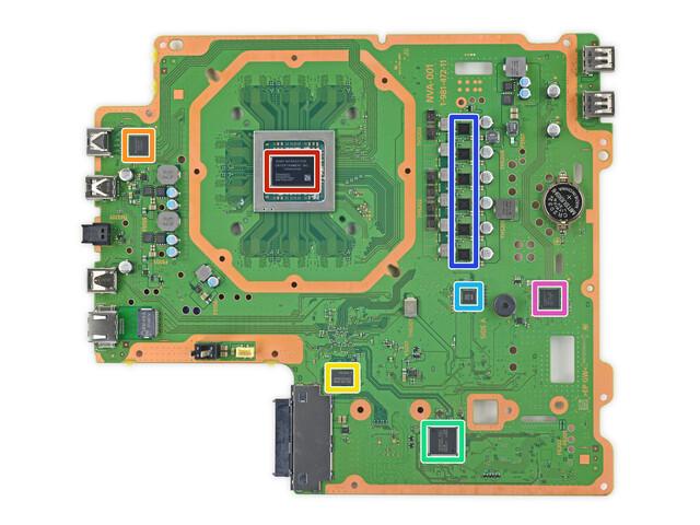 Das PCB der PS4 Pro mit neuer CPU/GPU (rot)