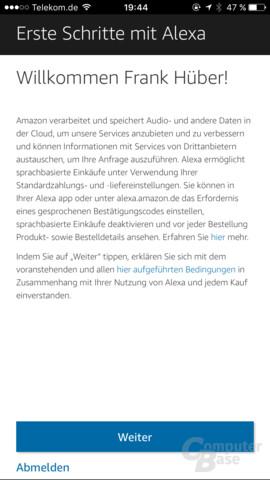 Amazon Echo: Einrichtung in der Alexa-App
