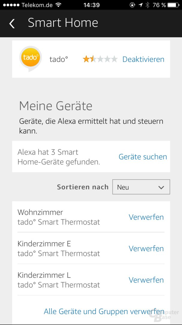 Amazon Echo: Smart-Home-Geräte in der Alexa-App