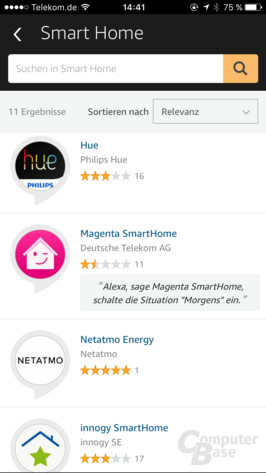 Amazon Echo: Skills in der Alexa-App