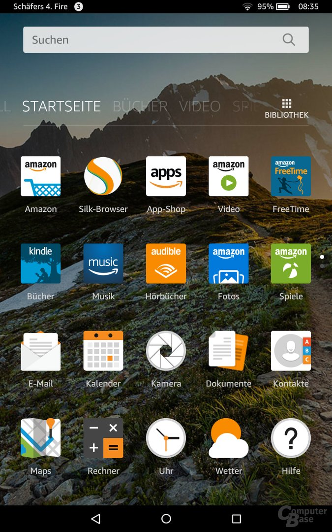 Homescreen des Fire HD 8