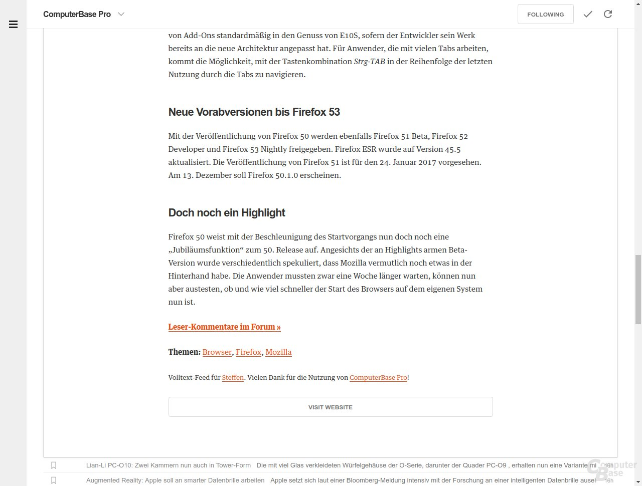 Volltext-Feed in Feedly