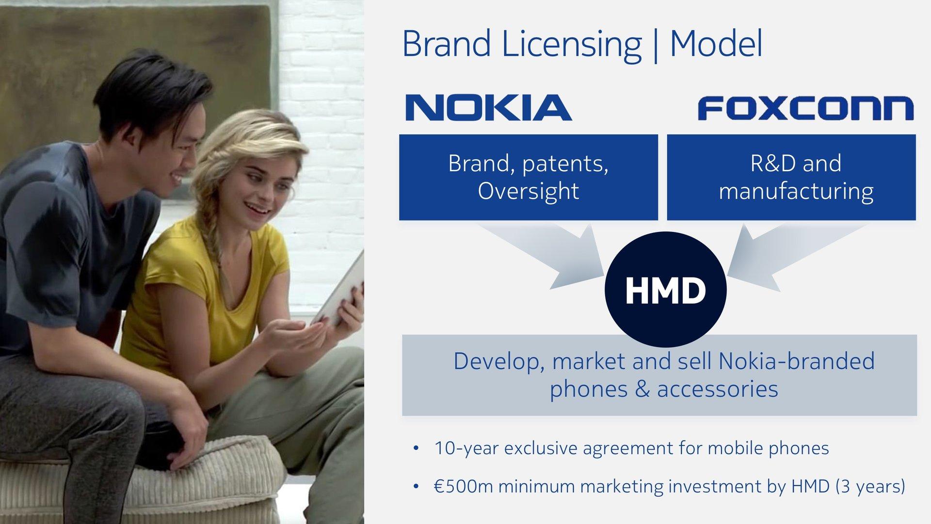 Die Marke steuert Nokia bei, Forschung und Entwicklung sowie Fertigung übernimmt Foxconn