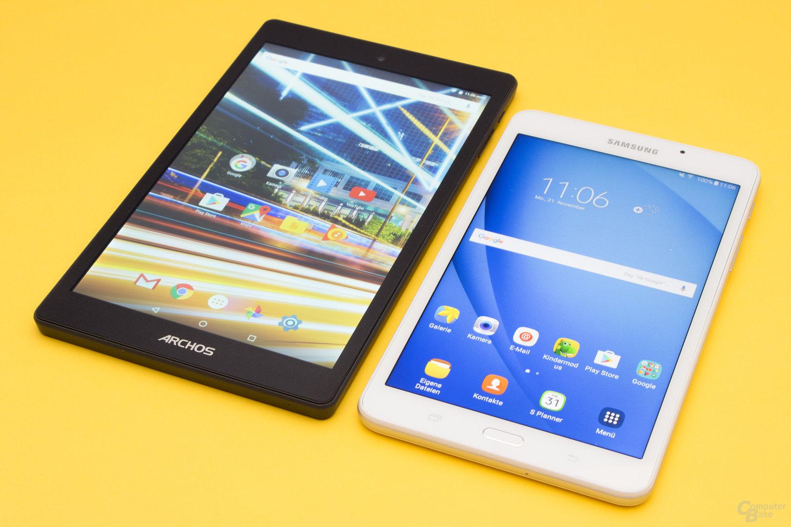 Größenvergleich Archos 80 Oxygen und Galaxy Tab A 2016