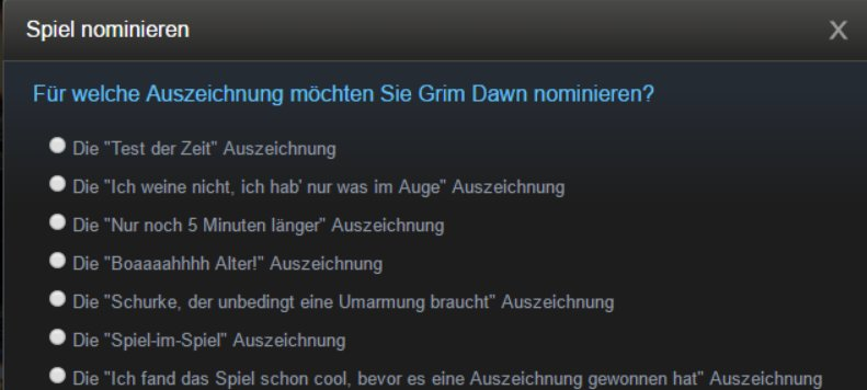 Nominierung für Steam-Awards