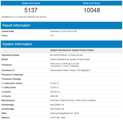 Intel Core i3-7350K in Geekbench