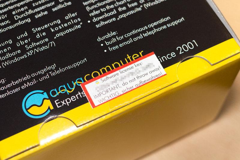 Lizenzschlüssel auf einem Produkt von Aqua Computer