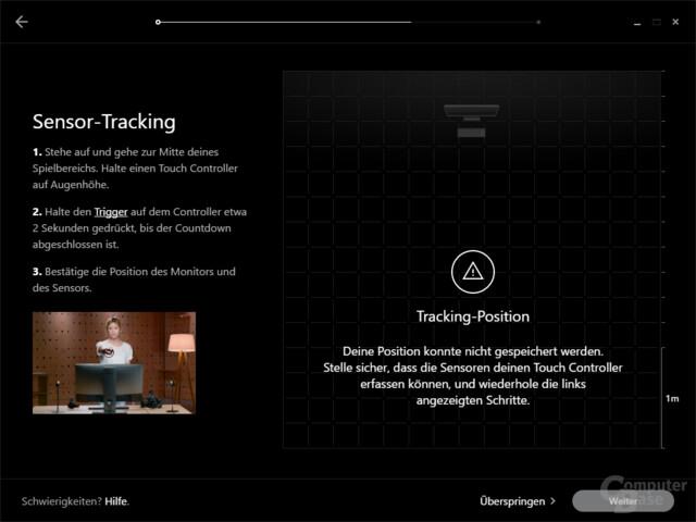 Die Einrichtung mit 2 Sensoren für 360°-Tracking braucht mehr Anläufe