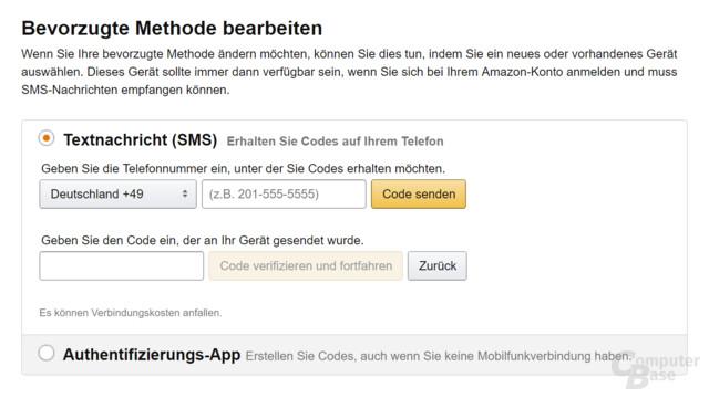 Amazon ermöglicht die Aktivierung der Zwei-Faktor-Authentifizierung