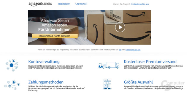 Screenshot der Amazon Business Seite