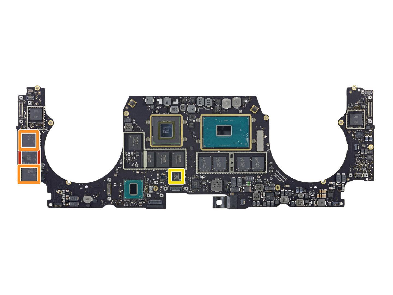 Die SSD (orange) ist bei Modellen mit Touch Bar verlötet