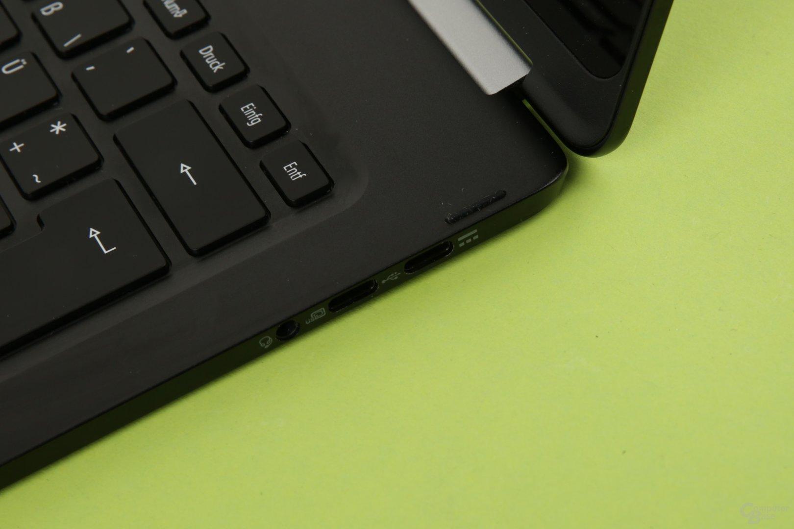 Zwei Mal USB Typ C, einmal auch zum Laden, einmal mit DisplayPort