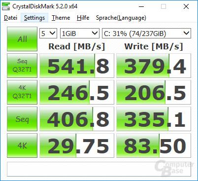 Die SSD liefert die bekannte SATA-Leistung