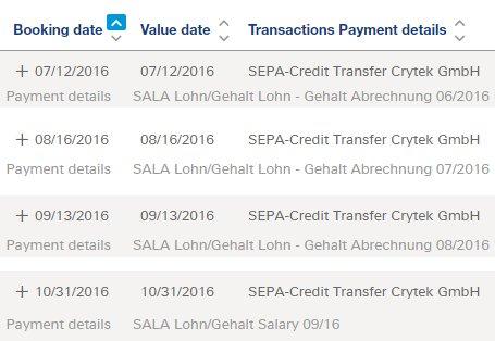 Ein Screenshot der Gehaltsabrechnungen soll als Beleg dienen