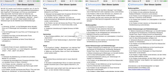 Veränderungen in Apple iOS 10.2