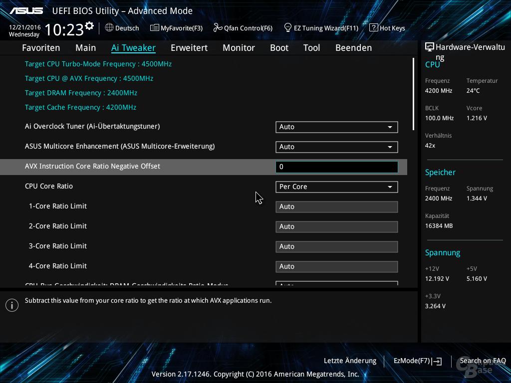 AVX-Offset-Einstellungen bei Z270-Mainboards