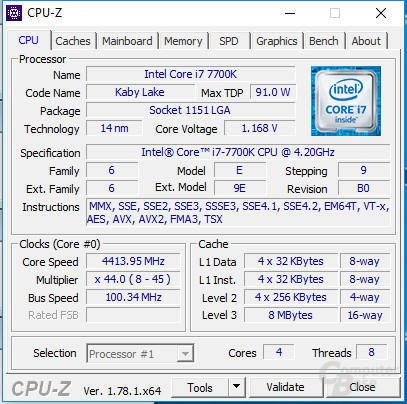 Intel Core i7-7700K undervoltet