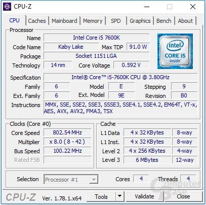 Intel Core i5-7600K undervoltet im Leerlauf