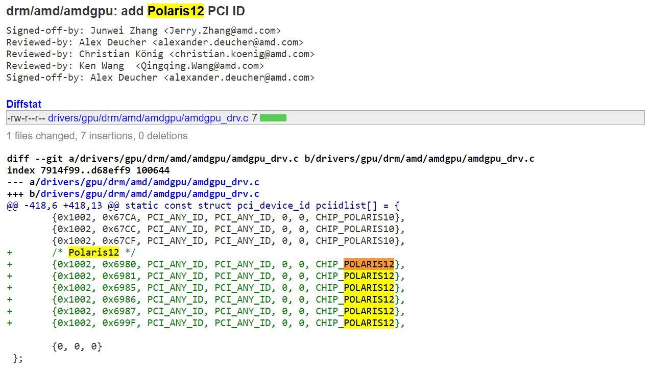 Linux-Treiber nennt Polaris 12 in sechs Varianten