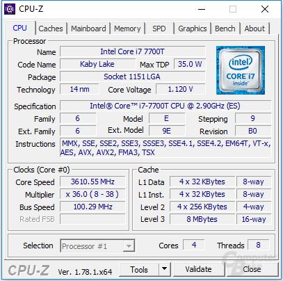 Intel Core i7-7700T im Turbo für alle Kerne
