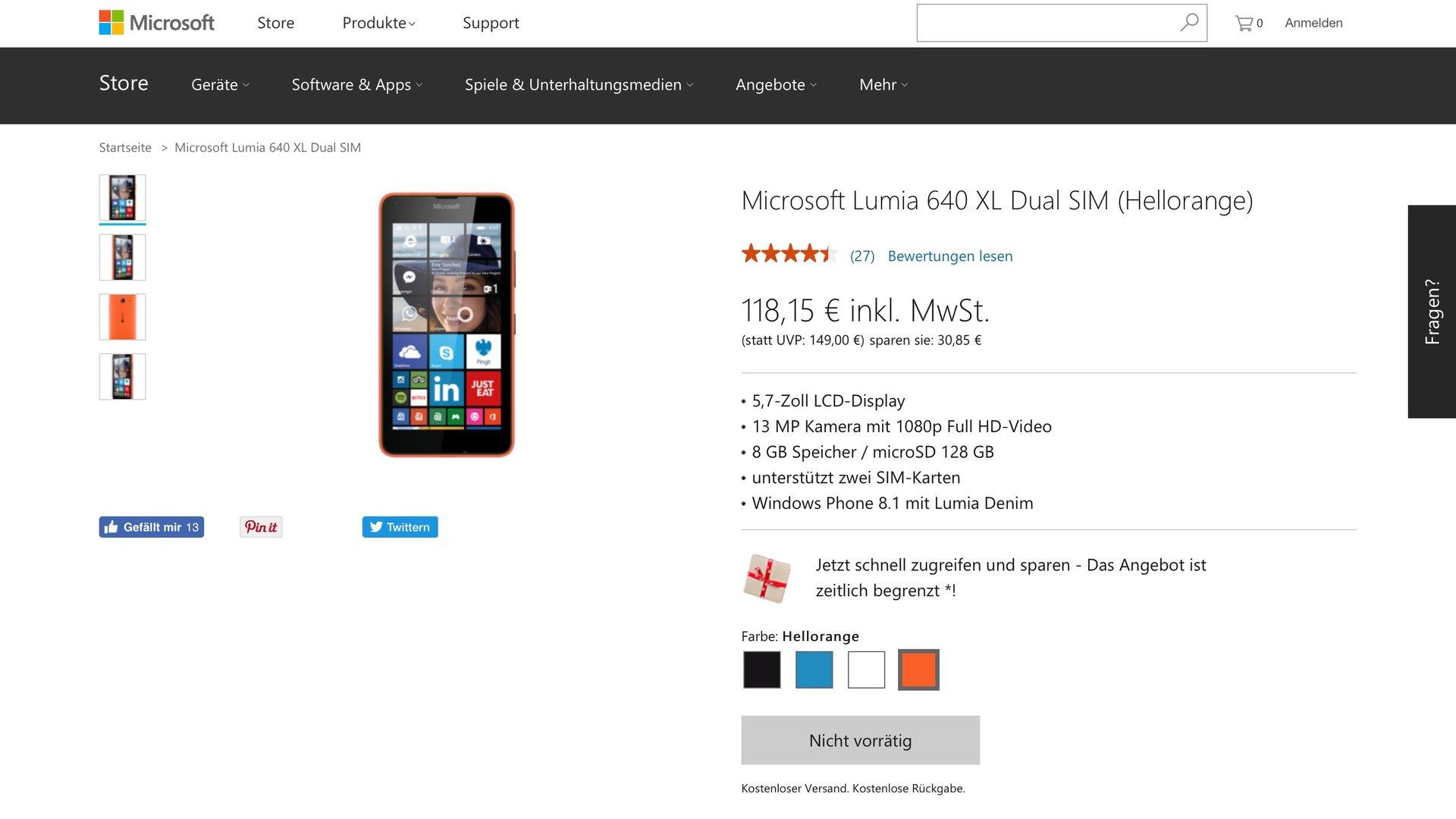Das Microsoft Lumia 640 XL ist bei Microsoft nicht mehr vorrätig