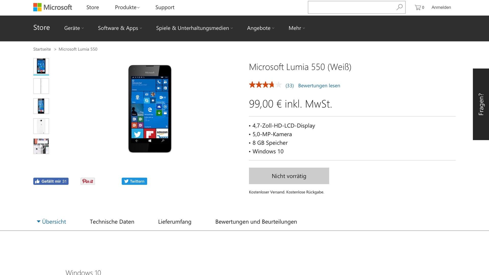 """Auch das Microsoft Lumia 550 ist als """"nicht vorrätig"""" gelistet"""