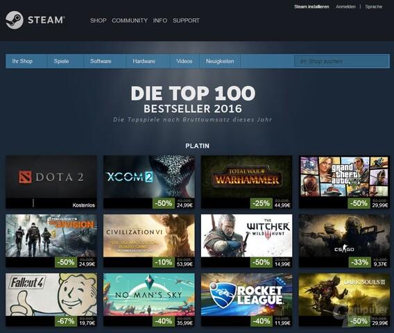 Steam Top 100 aus 2016