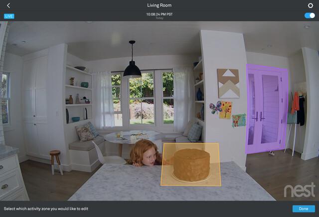 Activity Zones innerhalb der Nest-App für iOS auf dem iPad
