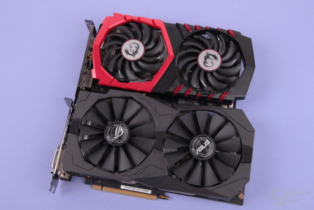 MSI GTX 1050 Ti Gaming (oben) und Asus GTX 1050 Ti Strix (unten)