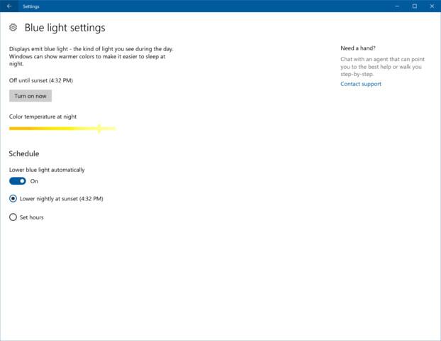 Ein Blaulichtfilter für Windows 10