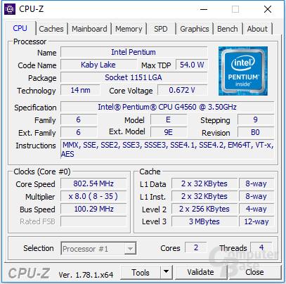 Intel Pentium G4560 im Leerlauf