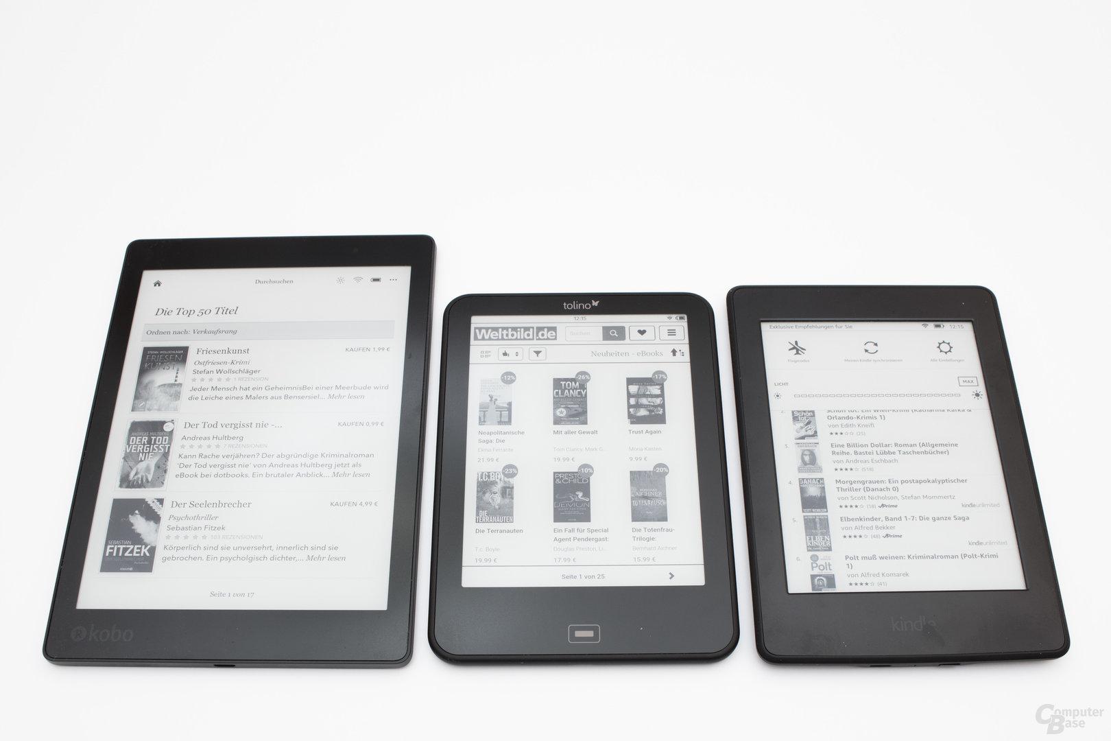 Größenvergleich Kobo Aura One, Tolino Vision 4 HD und Kindle Paperwhite