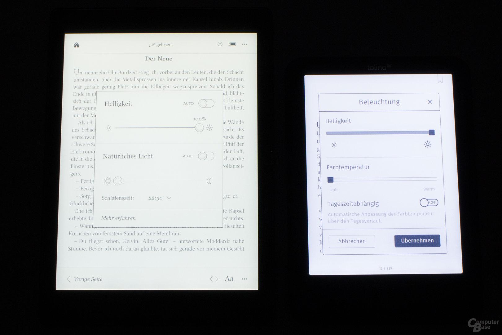 Beleuchtungvergleich Aura One und Vision 4 HD ohne Blaulichtfilter