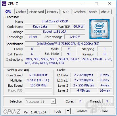 Intel Core i3-7350K auf 5,1 GHz