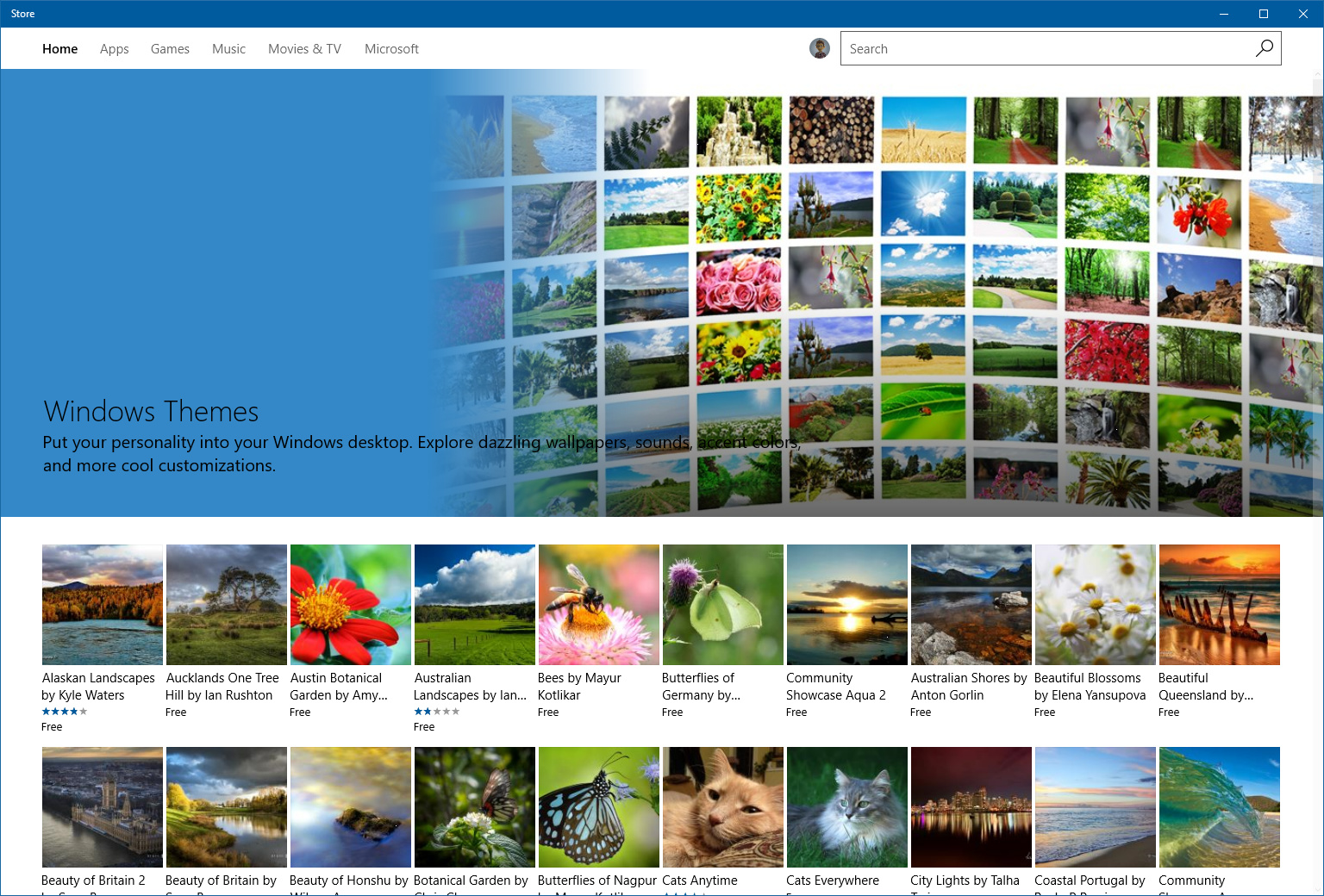 Windows Store mit Themes für Windows 10