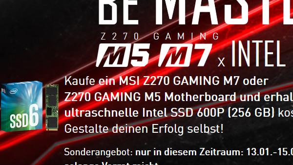 Aktion: Beim Kauf von MSI-Mainboard gibt es SSD gratis