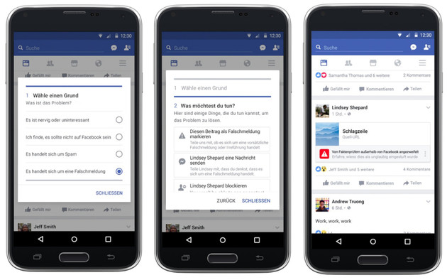 Facebook: Melde-Tool für Fake News