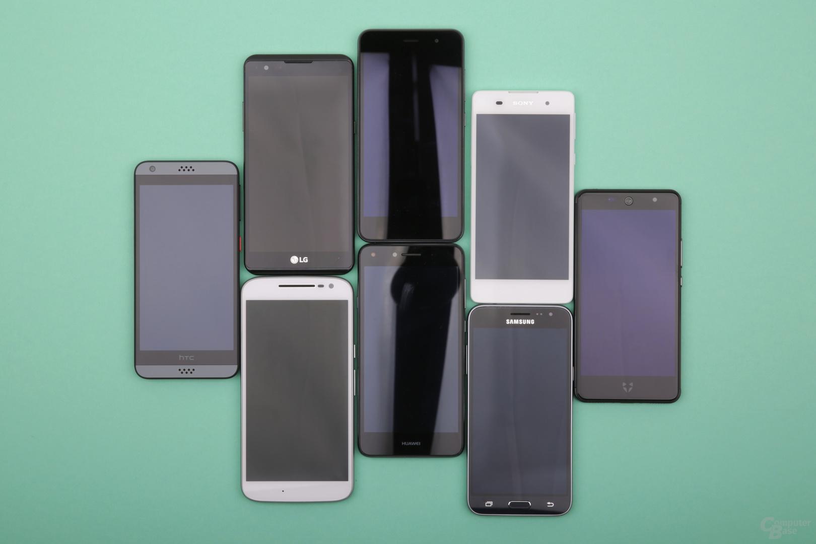 5 Zoll sind der Standard, Lenovo und LG bieten 5,5 und 5,3 Zoll