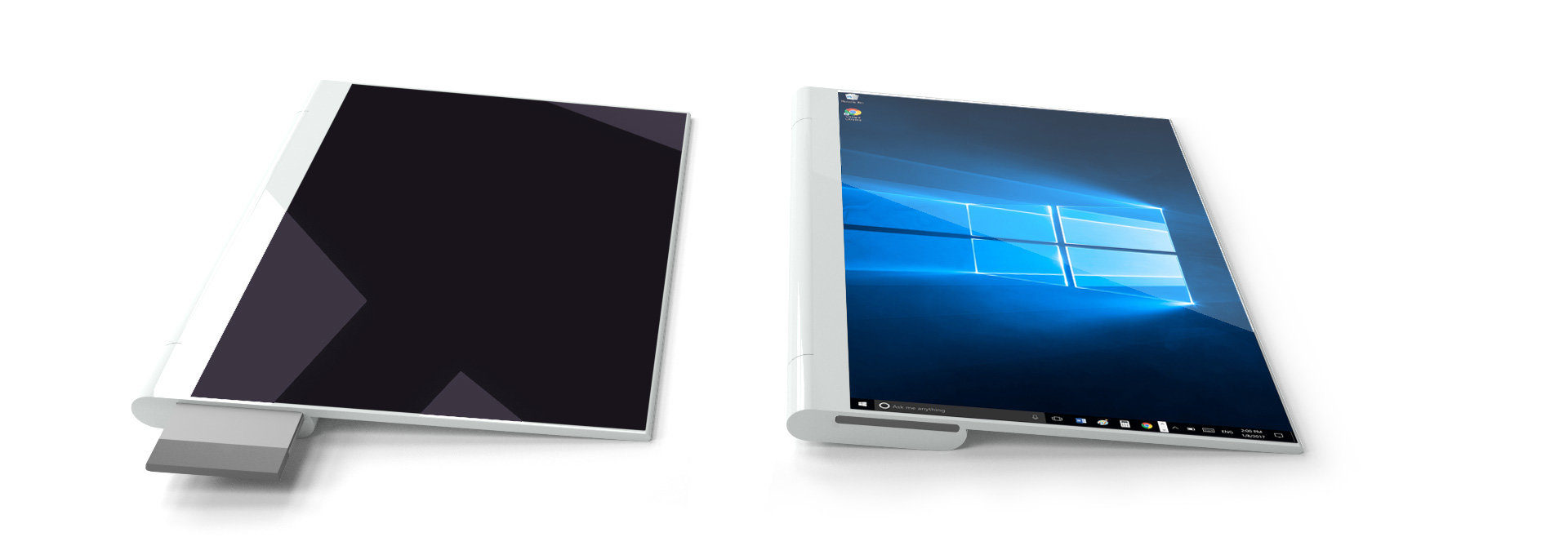 Rechts hinter dem Bildschirm wird die Compute Card eingeschoben