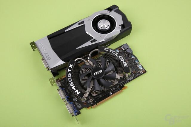 GeForce GTX 1060 (2016, oben) und GTX 460 (2010, unten)