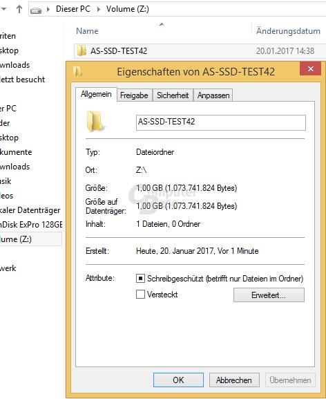 AS SSD: Testdatei für 4K-Lesetest