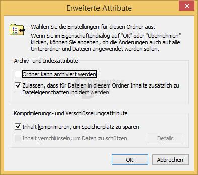NTFS-Komprimierung von Windows aktiviert
