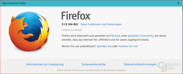 About Firefox zeigt Architektur