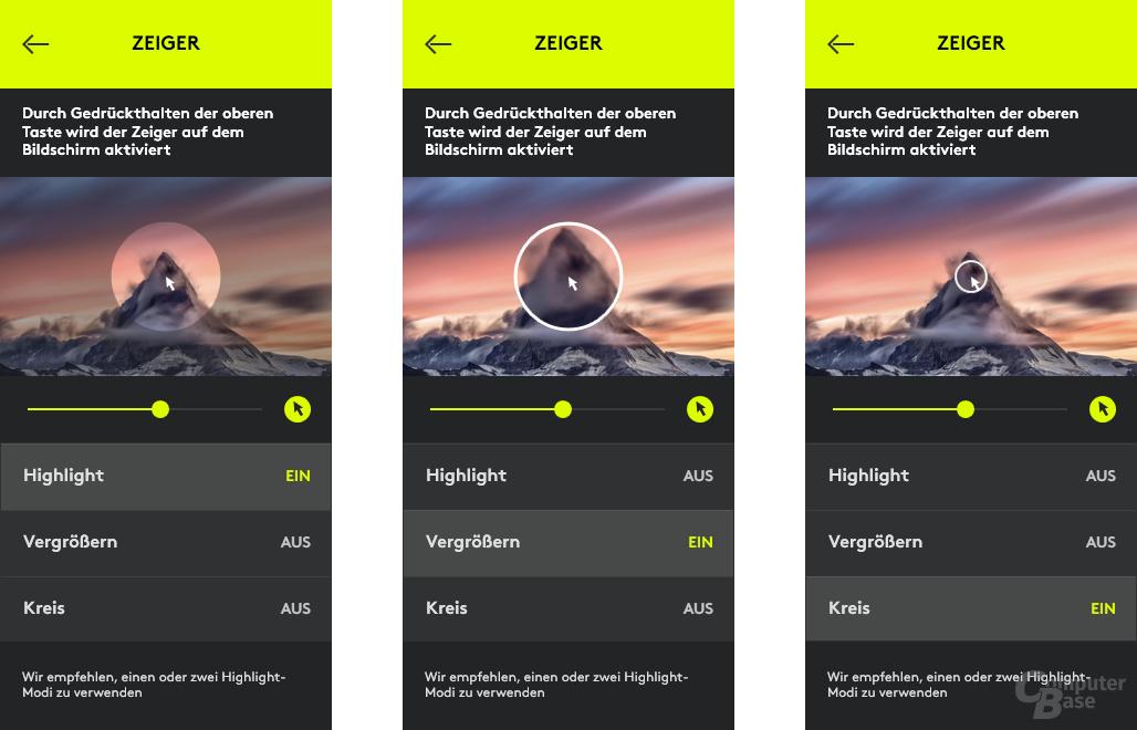 Spotlight-Software mit Zeiger-Optionen im Überblick