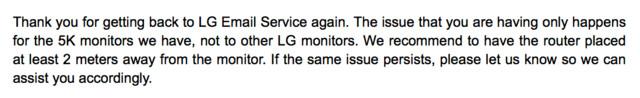 LG-Support empfiehlt Distanz zwischen Router und Display