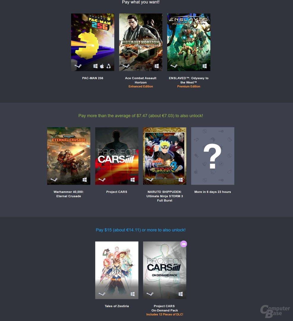 Die ersten drei Stufen des Bandai-Namco-Bundles