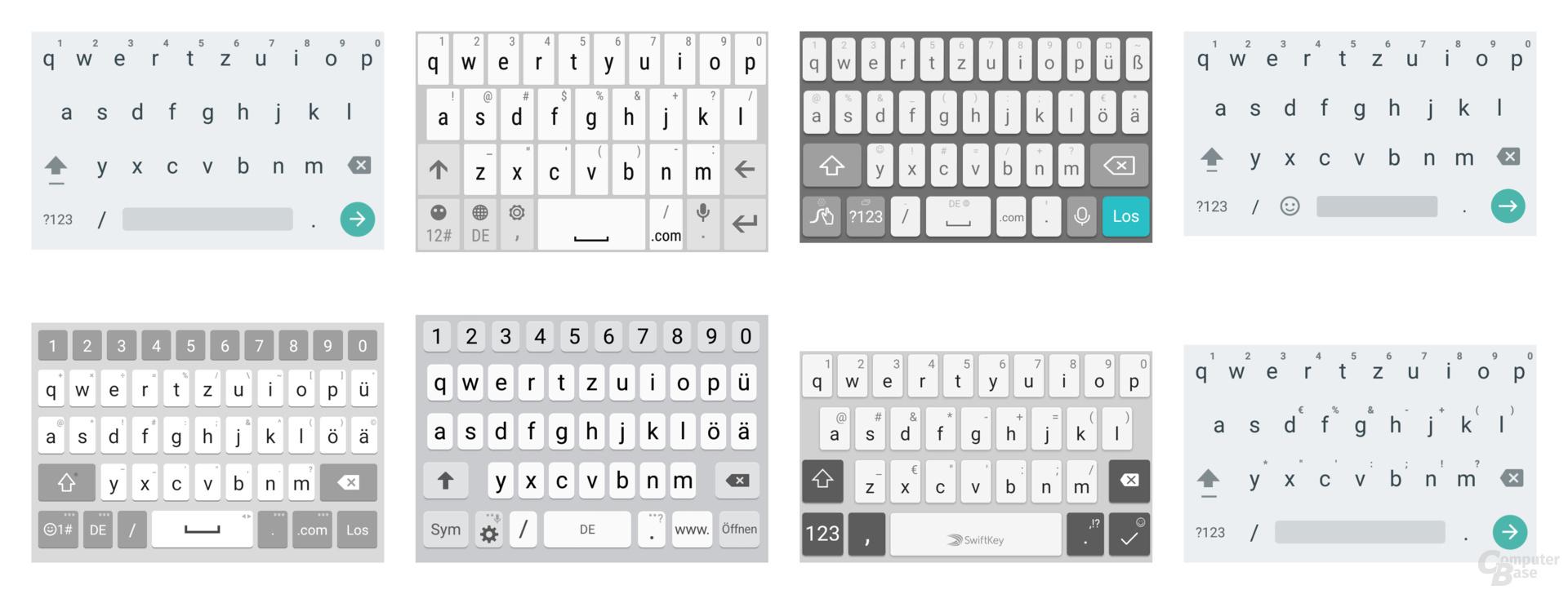 Tastaturen v.l.n.r.: Gigaset, HTC, Huawei, Lenovo, LG, Samsung, Sony, Wileyfox
