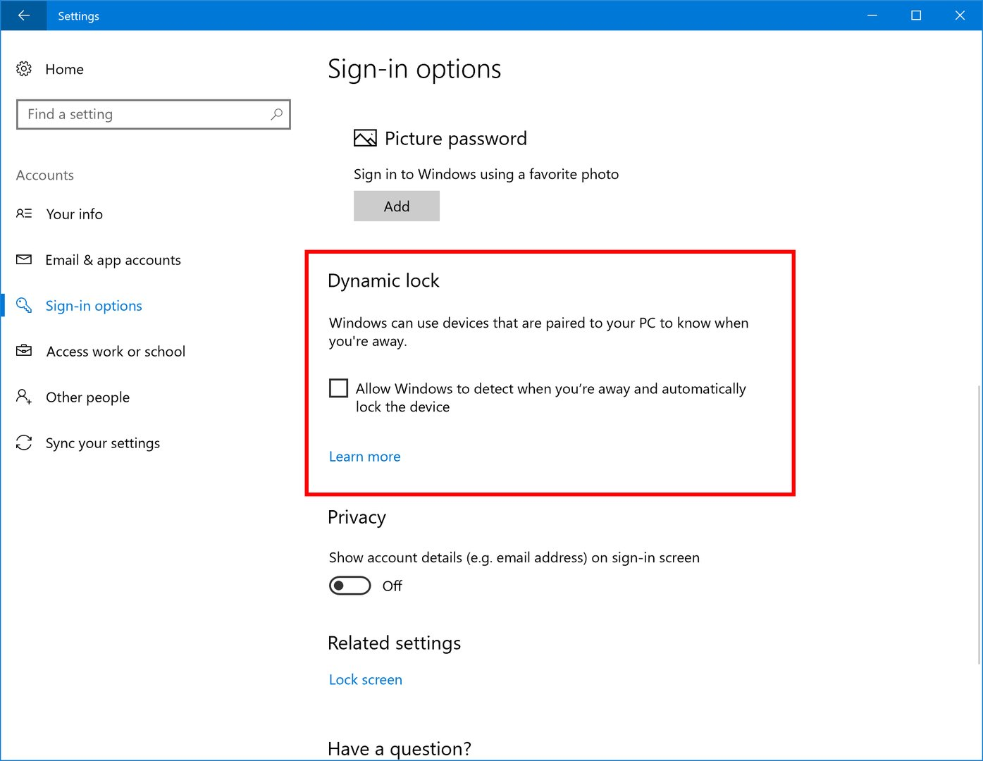 Die neue Funktion Dynamic Lock in Windows 10
