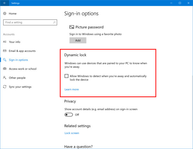 Die neue Funktion Dynamic Lock in Windows 10